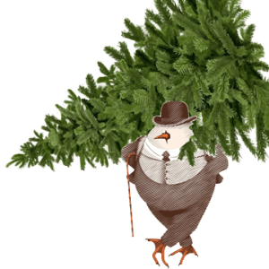 Picture or David Burke Tavern Egg Man carrying a Christmas Tree