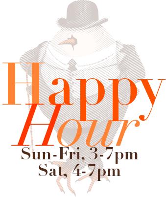 David Burke Tavern Happy Hour - Sunday Through Friday 3-7 pm; Saturday 4pm-7pm.