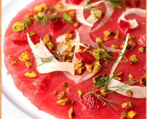 tuna carpaccio | blood orange, pistachio, shaved fennel