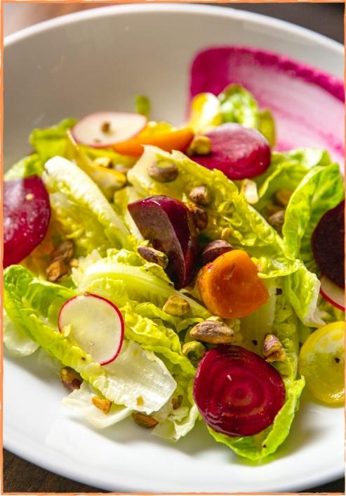 David Burke Tavern Little Gem & Beet Salad pistachio, mustard, yogurt beet dressing