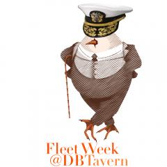 L'Eggs Benedict Logo wearing an admirals hat for Fleet Week at David Burke Tavern