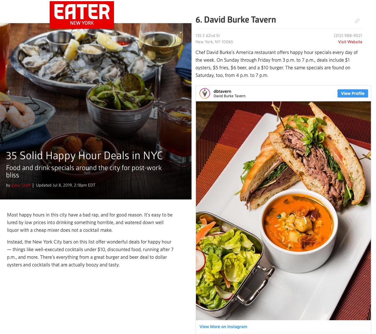 EATER: 35 Solid Happy Hours in NYC