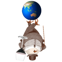 Southern Hemisphere Chef's Studio Wine Dinner - upside down David Burke Tavern logo mascot holding a glass of red wine, standing on the south pole of the Globe showing Australia,