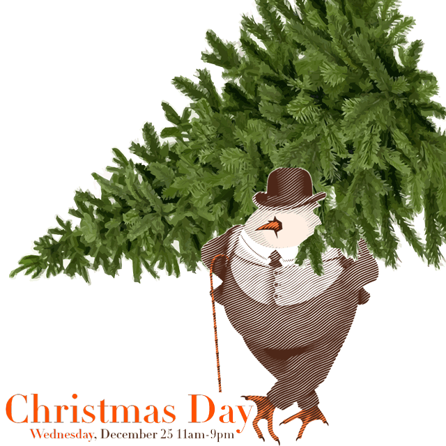 David Burke Tavern Mascot carrying a Christmas Tree on Shoulder to announce the 3-course Prix Fixe Christmas Menu at David Burke Tavern on Christmas Day, Wednesday, December 25, 2019