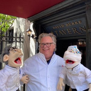 David Burke with his two Chef look-alike puppets outside of David Burke Tavern